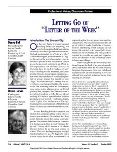 LETTING GO OF LETTER OF THE WEEK