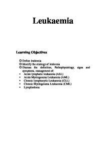 Leukaemia Learning Objectives