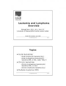 Leukemia and Lymphoma Overview