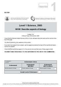 Level 1 Science, 2005