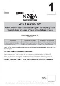 Level 1 Spanish, 2011