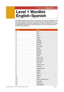 Level 1 Wordlist English-Spanish