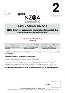 Level 2 Accounting, 2012