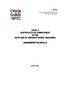 LEVEL 2 CERTIFICATE OF COMPETENCE IN THE SAFE USE OF ABRASIVE WHEEL MACHINES ASSESSMENT SCHEDULE