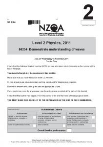 Level 2 Physics, 2011