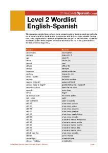 Level 2 Wordlist English-Spanish