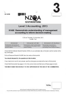 Level 3 Accounting, 2013