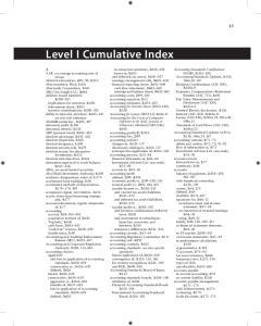 Level I Cumulative Index