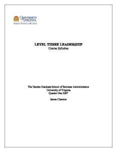 LEVEL THREE LEADERSHIP Course Syllabus