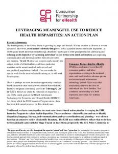 LEVERAGING MEANINGFUL USE TO REDUCE HEALTH DISPARITIES: AN ACTION PLAN