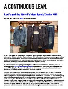 Levi s and the World s Most Iconic Denim Mill