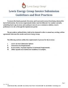 Lewis Energy Group Invoice Submission Guidelines and Best Practices