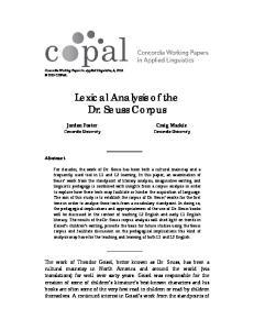 Lexical Analysis of the Dr. Seuss Corpus