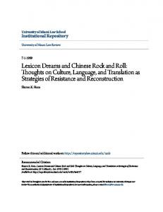 Lexicon Dreams and Chinese Rock and Roll: Thoughts on Culture, Language, and Translation as Strategies of Resistance and Reconstruction
