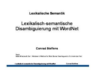 Lexikalisch-semantische Disambiguierung mit WordNet