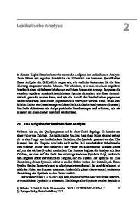 Lexikalische Analyse. 2.1 Die Aufgabe der lexikalischen Analyse