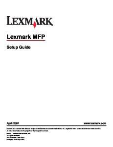 Lexmark MFP. Setup Guide