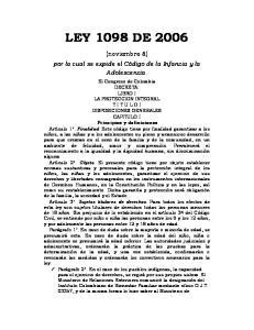 LEY 1098 DE (noviembre 8) por la cual se expide el Código de la Infancia y la Adolescencia