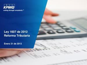 Ley 1607 de 2012 Reforma Tributaria. Enero 31 de 2013