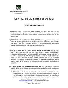LEY 1607 DE DICIEMBRE 26 DE 2012