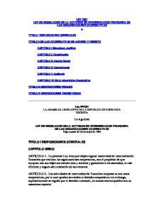 LEY 7391 LEY DE REGULACION DE LA ACTIVIDAD DE INTERMEDIACION FINANCIERA DE LAS ORGANIZACIONES COOPERATIVAS
