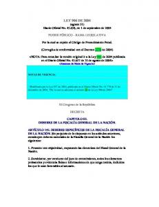 LEY 906 DE 2004 (agosto 31) Diario Oficial No , de 1 de septiembre de 2004