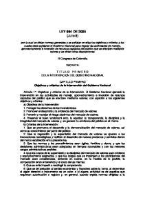 LEY 964 DE 2005 (Julio 8)