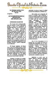 LEY DE BENEFICIO SOCIAL ESTUDIANTIL DEL ESTADO LARA