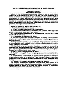 LEY DE COORDINACIÓN FISCAL DEL ESTADO DE AGUASCALIENTES