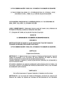 LEY DE COORDINACIÓN FISCAL DEL ESTADO DE MICHOACÁN DE OCAMPO