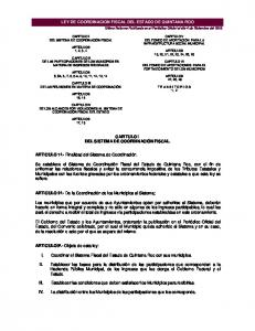 LEY DE COORDINACION FISCAL DEL ESTADO DE QUINTANA ROO