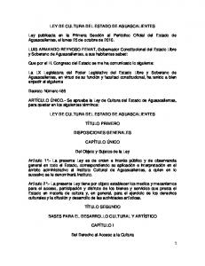 LEY DE CULTURA DEL ESTADO DE AGUASCALIENTES