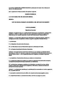 LEY DE DEUDA PUBLICA MUNICIPAL DEL ESTADO DE MEXICO