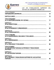 LEY DE FISCALIZACION SUPERIOR DEL ESTADO DE GUERRERO NUMERO 564