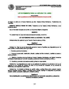 LEY DE FOMENTO PARA LA LECTURA Y EL LIBRO