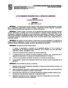 LEY DE FOMENTO PECUARIO PARA EL ESTADO DE CAMPECHE