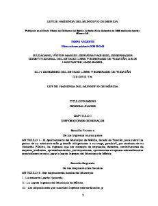 LEY DE HACIENDA DEL MUNICIPIO DE MERIDA