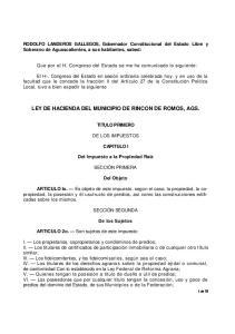 LEY DE HACIENDA DEL MUNICIPIO DE RINCON DE ROMOS, AGS
