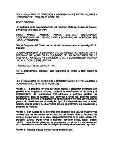LEY DE IGUALDAD DE DERECHOS Y OPORTUNIDADES ENTRE MUJERES Y HOMBRES EN EL ESTADO DE MORELOS