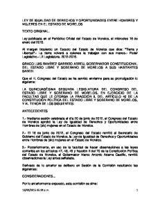 LEY DE IGUALDAD DE DERECHOS Y OPORTUNIDADES ENTRE HOMBRES Y MUJERES EN EL ESTADO DE MORELOS