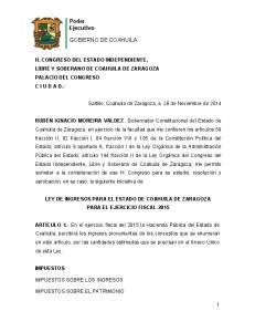 LEY DE INGRESOS PARA EL ESTADO DE COAHUILA DE ZARAGOZA PARA EL EJERCICIO FISCAL 2015