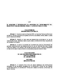 LEY DE INGRESOS Y PRESUPUESTO DE INGRESOS DEL AYUNTAMIENTO DEL MUNICIPIO DE BACUM, SONORA, PARA EL EJERCICIO FISCAL DE 2016