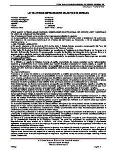LEY DE JOVENES EMPRENDEDORES DEL ESTADO DE MORELOS