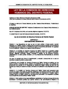 LEY DE LA COMISION DE DERECHOS HUMANOS DEL DISTRITO FEDERAL