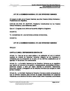 LEY DE LA COMISION NACIONAL DE LOS DERECHOS HUMANOS