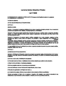 Ley de los Centros Educativos Privados. Ley N 26549