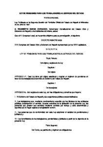 LEY DE PENSIONES PARA LOS TRABAJADORES AL SERVICIO DEL ESTADO TEXTO ORIGINAL