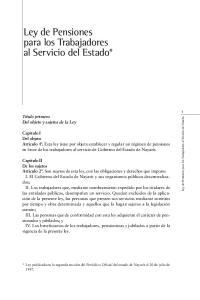 Ley de Pensiones para los Trabajadores al Servicio del Estado*
