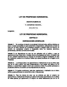 LEY DE PROPIEDAD HORIZONTAL LEY DE PROPIEDAD HORIZONTAL