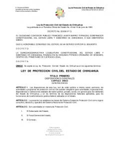 LEY DE PROTECCION CIVIL DEL ESTADO DE CHIHUAHUA